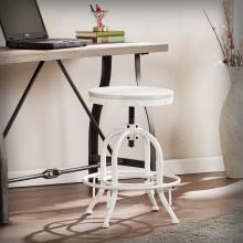 Industrial Adjustable Height Swiveling Stool - White