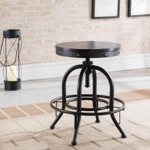 Round Adjustable-Height Stool - Industrial Style - Black