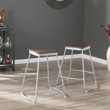 Roldon Backless Counter Stools - 2pc Set - Silver