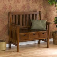 Country 3-Drawer Bench - Oak