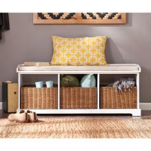 Loring Entryway Storage Bench - White