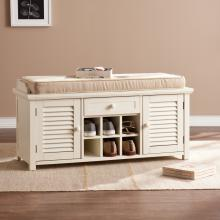 Antebellum Shoe Storage Bench - Antique White