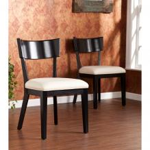 Paolo Dining Chairs 2pc Set - Black w/ Cream