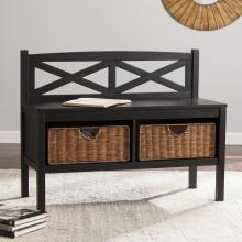 X-Back Bench W/ Storage Baskets - Black