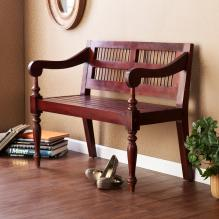 SOLID MAHOGANY TURNED-LEG BENCH - MAHOGANY FINISH