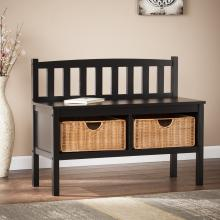 Bench W/ Rattan Baskets - Black