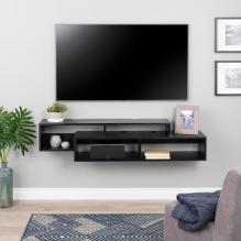 Modern Wall Mounted Media Console and Storage Shelf, Black