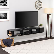 Black 70 in. Wide Wall Mounted TV Stand