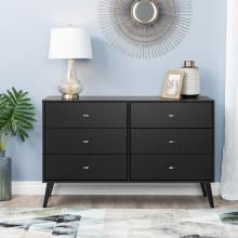Milo Mid Century Modern  6-drawer Dresser, Black