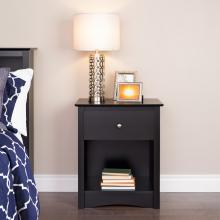 Sonoma 1-drawer Tall Nightstand, Black