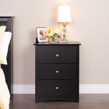 Sonoma 3-drawer Tall Nightstand, Black