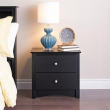Black Sonoma 2 Drawer Nightstand