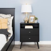 Milo Mid Century Modern 2-drawer Tall Nightstand with Open Shelf, Black