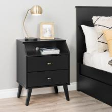 Milo 2 Drawer Night Stand with Angled Top, Black