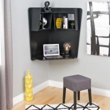 Prepac Floating Corner Desk, Black