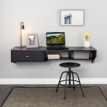Modern Floating Desk with Drawer, Black