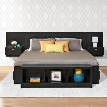 Series 9 King Wall Mounted Headboard System with 2 Night Stands in Black