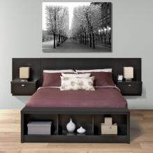 Series 9 Queen Wall Mounted Headboard System with 2 Night Stands in Black
