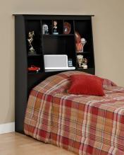 Black Twin Tall Slant-Back Bookcase Headboard