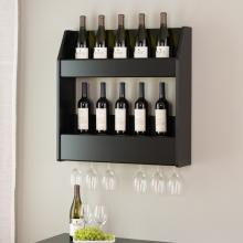 Black 2-Tier Floating Wine and Liquor Rack