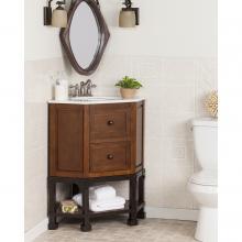 Carverdale Corner Bath Vanity Sink W/ Marble Top