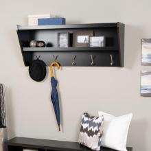 Floating Entryway Shelf & Coat Rack in Black