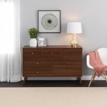 Prepac Milo Mid Century Modern 7-Drawer Dresser, Cherry