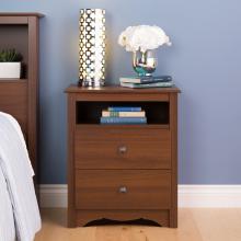 Cherry Monterey Tall 2 Drawer Nightstand with Open Shelf