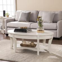 Laverly Traditional Oval Cocktail Table - Whitewash