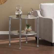 Jaymes Metal/Glass Round End Table - Silver
