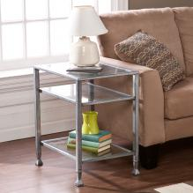 Metal/Glass End Table - Silver