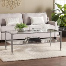 Jaymes Metal/Glass Rectangular Open Shelf Cocktail Table