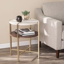 Ardmillan Round End Table w/ Faux Marble Top