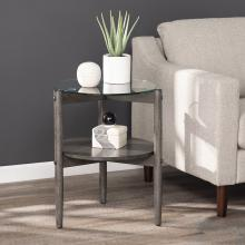 Glaslyn Round Glass-Top End Table