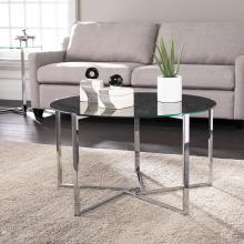 Dransill Round Cocktail Table w/ Faux Marble Glass Top
