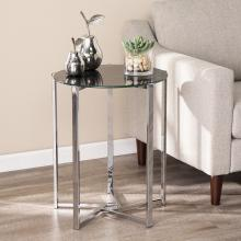 Dransill Round End Table w/ Faux Marble Glass Top