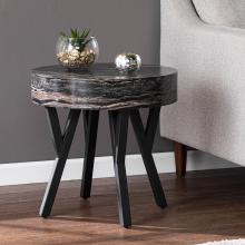 Twemlow Round Faux Marble End Table
