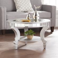 Lindsay Glam Mirrored Round Cocktail Table