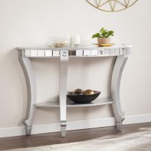 Lindsay Glam Mirrored Demilune Console Table