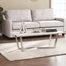 Wrexham Faux Marble Cocktail Table - Soft Ivory w/ Gray