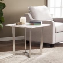 Wrexham Faux Marble End Table - Soft Ivory w/ Gray