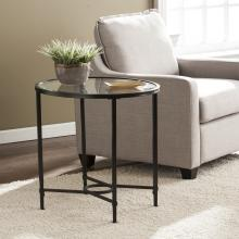 Quinton Metal/Glass Oval Side Table - Black