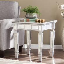 Glenview Glam Mirrored Square End Table - Matte Silver