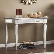 Glenview Glam Mirrored Console Table - Matte Silver