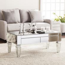 Darien Contemporary Mirrored Rectangular Cocktail Table
