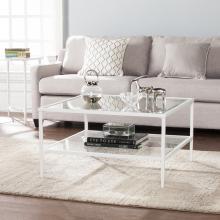 Keller Square Metal/Glass Open Shelf Cocktail Table - White
