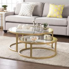 Evelyn Glam Nesting Cocktail Table 2pc Set - Gold