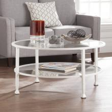 Jaymes Metal/Glass Round Cocktail Table - White