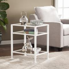 Jaymes Metal/Glass End Table - White