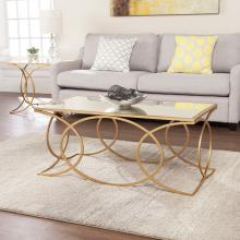 Denise Geometric Cocktail Table w/ Mirrored Top - Gold